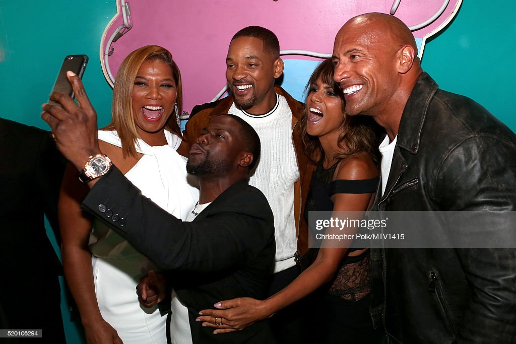Actress Queen Latifah, co-host Kevin Hart, honoree Will Smith, actress Halle Berry and co-host Dwayne Johnson take a selfie during the 2016 MTV Movie Awards at Warner Bros. Studios on April 9, 2016 in Burbank, California. MTV Movie Awards airs April 10, 2016 at 8pm ET/PT.