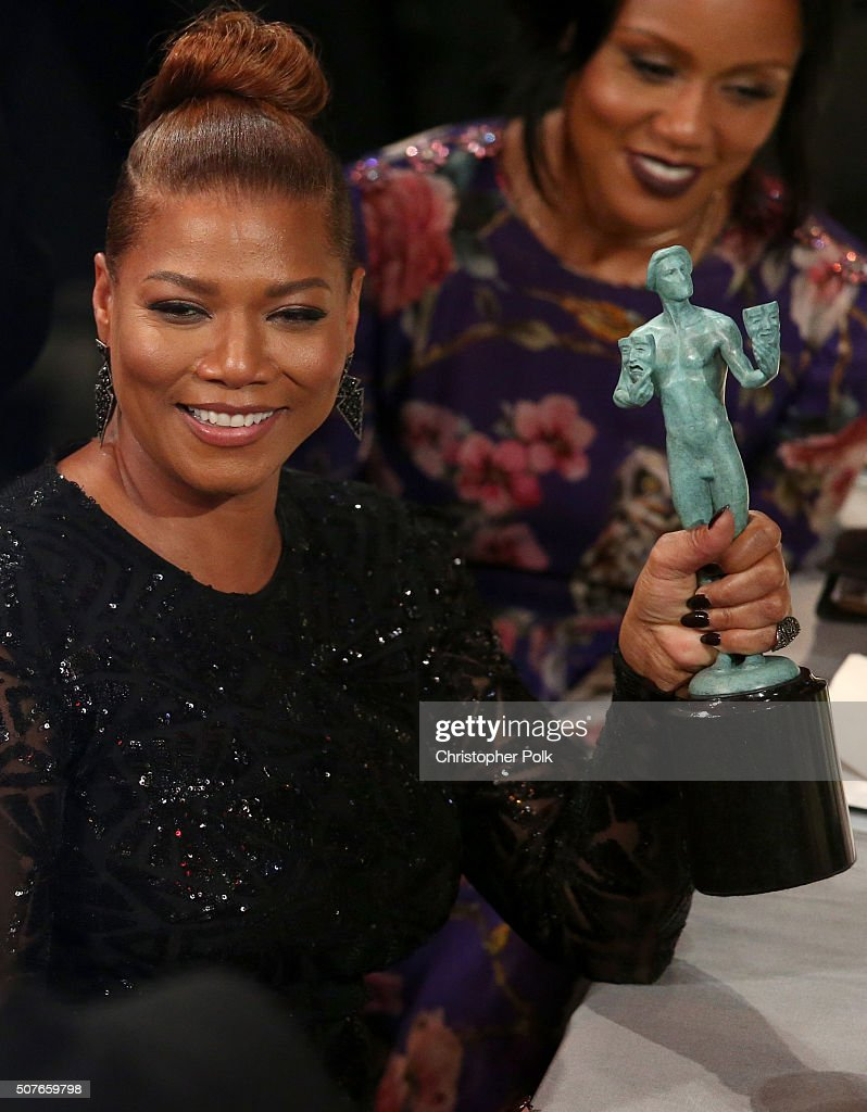 Actress Queen Latifah is seen with the award for Outstanding Performance by a Female Actor in a Television Movie or Miniseries for 'Bessie' at The...