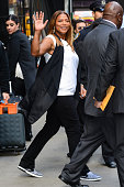 Actress Queen Latifah leaves the 'Good Morning America' taping at the ABC Times Square Studios on May 13 2015 in New York City