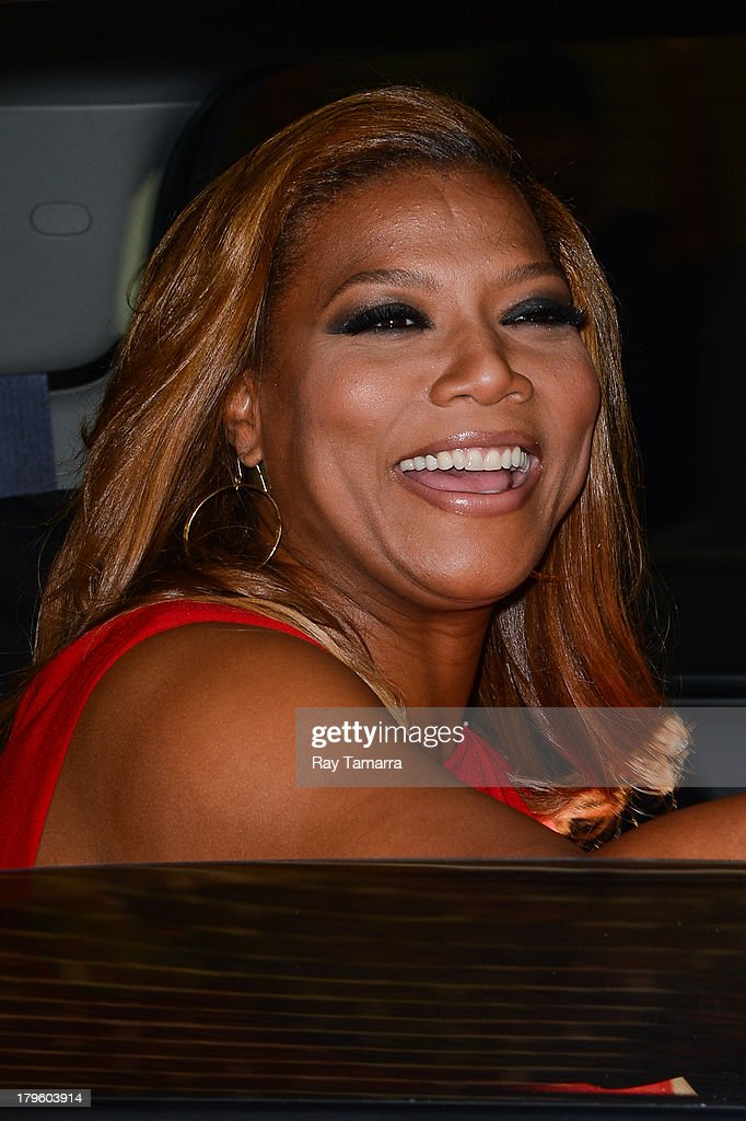 Actress <a gi-track='captionPersonalityLinkClicked' href=/galleries/search?phrase=Queen+Latifah&family=editorial&specificpeople=171793 ng-click='$event.stopPropagation()'>Queen Latifah</a> leaves the 'Late Show With David Letterman' taping at the Ed Sullivan Theater on September 5, 2013 in New York City.