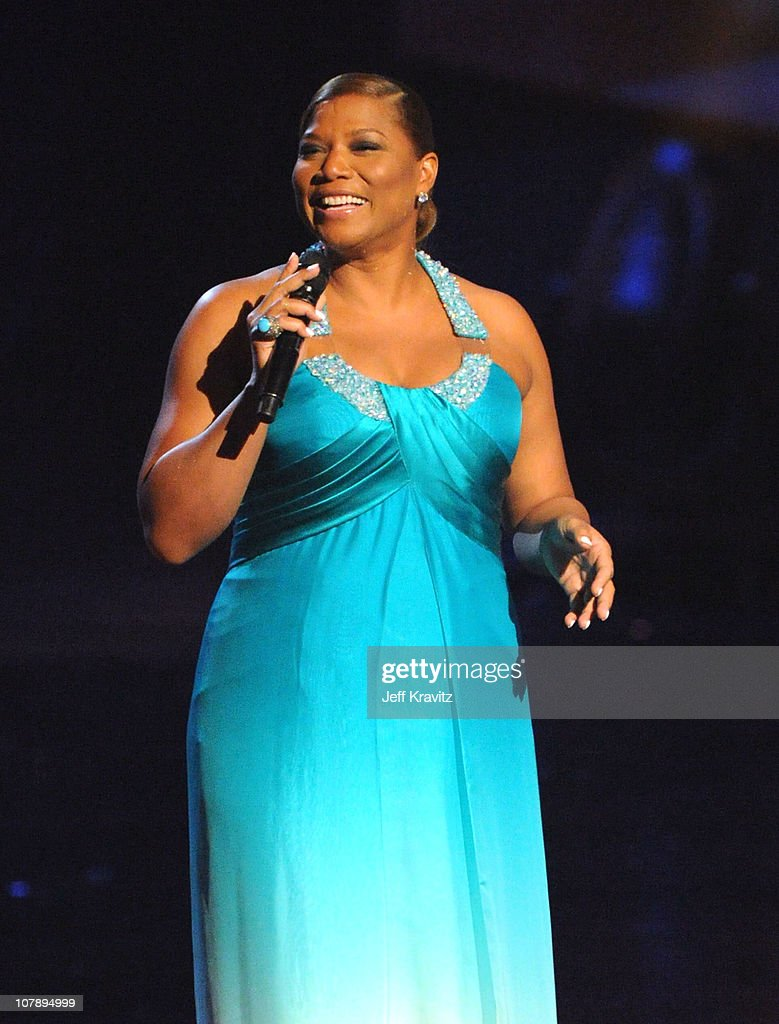 Actress <a gi-track='captionPersonalityLinkClicked' href=/galleries/search?phrase=Queen+Latifah&family=editorial&specificpeople=171793 ng-click='$event.stopPropagation()'>Queen Latifah</a> speaks onstage during the 2011 People's Choice Awards at Nokia Theatre L.A. Live on January 5, 2011 in Los Angeles, California.