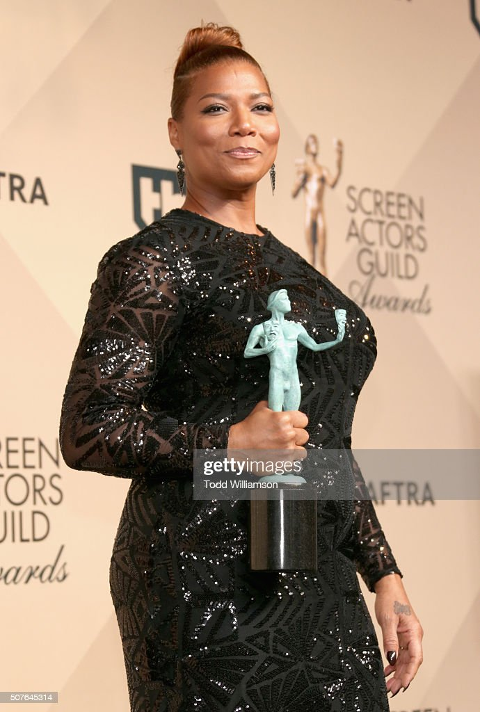 Actress Queen Latifah winner for Outstanding Performance By a Female Actor in a Television Movie or Miniseries poses in the press room during the...