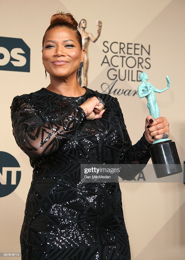 Actress Queen Latifah winner of Outstanding Performance by a Female Actor in a Television Movie or Miniseries for 'Bessie' poses in the press room at...