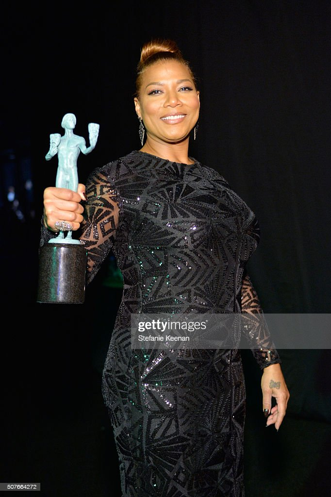 Actress Queen Latifah winner of the award for Outstanding Performance By a Female Actor in a Television Movie or Miniseries for 'Bessie' attends The...