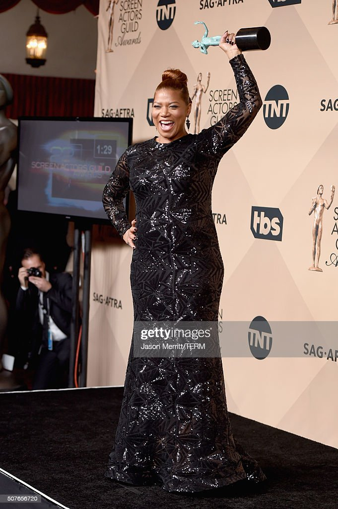 Actress Queen Latifah winner of the Outstanding Performance by a Female Actor in a Television Movie or Miniseries award for 'Bessie' poses in the...
