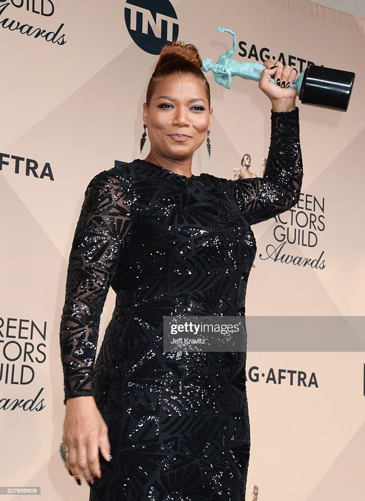 Actress Queen Latifah winner of the Outstanding Performance by a Female Actor in a Television Movie or Miniseries award poses in the press room...