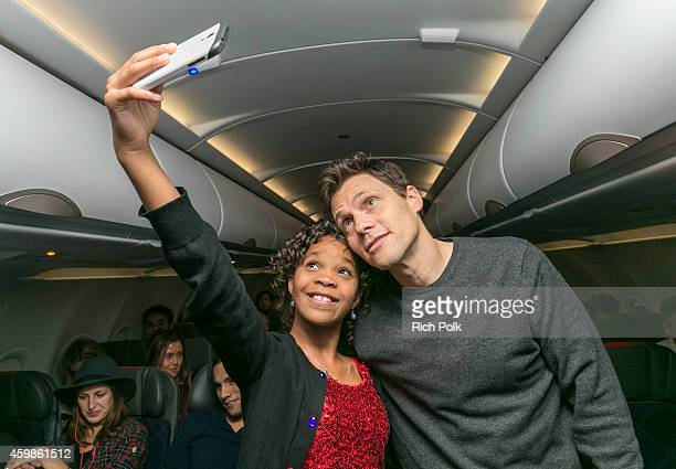 Actress Quvenzhané Wallis and director Will Gluck take a selfie at MasterCard takes Priceless Surprises to new heights with a screening of the new...