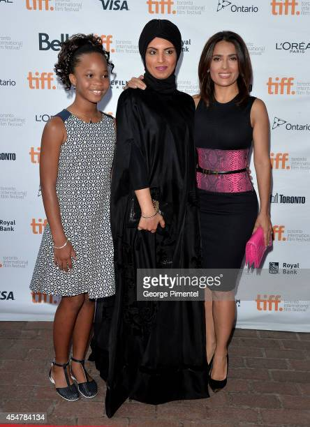 Actress Quvenzhané Wallis Fatima Alremaihi and actress Salma Hayek attend the 'Kahlil Gibran's The Prophet' premiere during the 2014 Toronto...