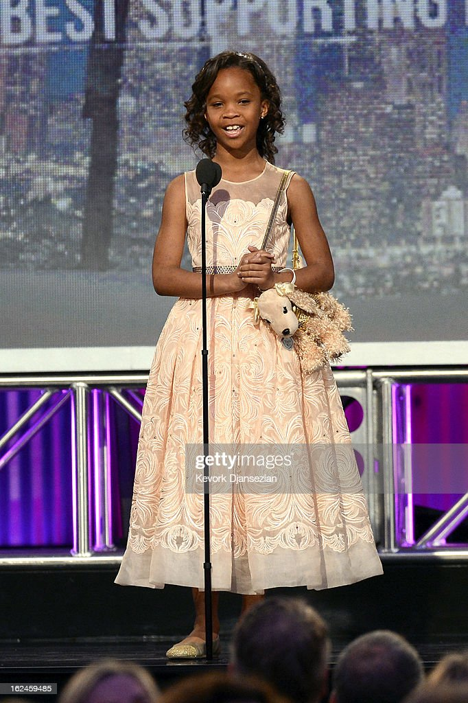 Actress Quvenzhané Wallis onstage during the 2013 Film Independent Spirit Awards at Santa Monica Beach on February 23, 2013 in Santa Monica, California.