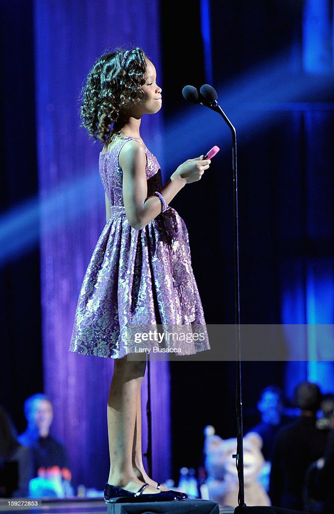 Actress Quvenzhane Wallis accepts the Best Young Actor award for 'Beasts of the Southern Wild' onstage at the 18th Annual Critics' Choice Movie Awards held at Barker Hangar on January 10, 2013 in Santa Monica, California.