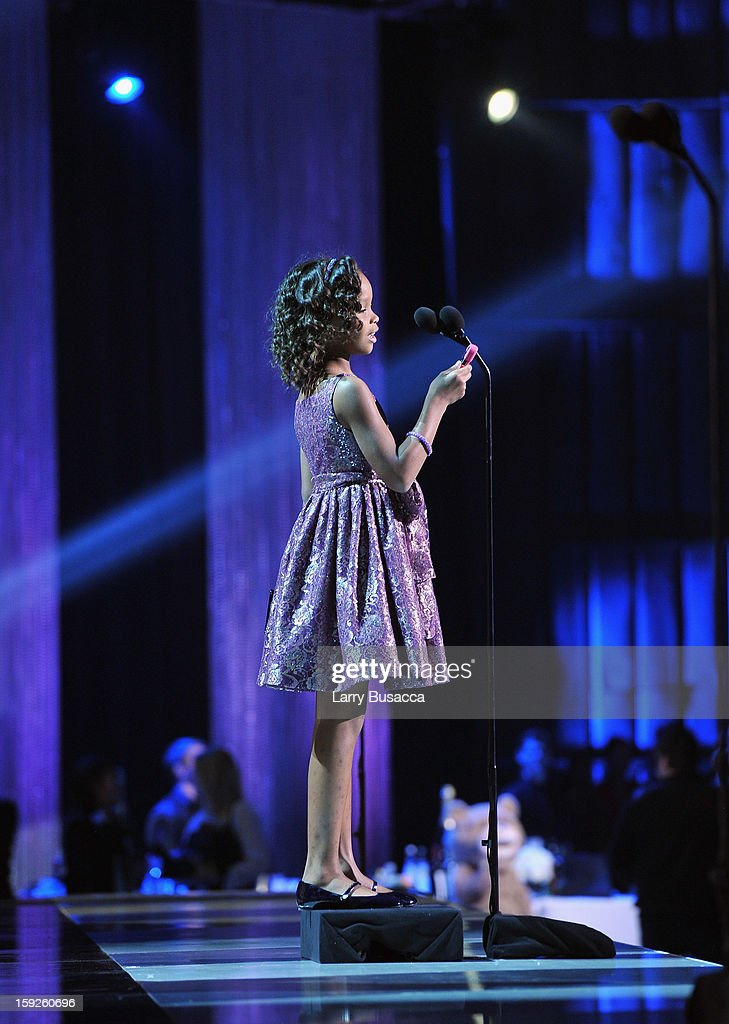 Actress Quvenzhane Wallis accepts the Best Young Actor/Actress Award for 'Beasts of the Southern Wild' onstage at the 18th Annual Critics' Choice Movie Awards held at Barker Hangar on January 10, 2013 in Santa Monica, California.