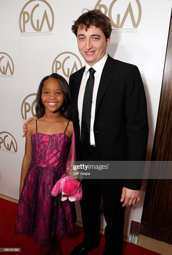 Actress Quvenzhane Wallis and director <a gi-track='captionPersonalityLinkClicked' href=/galleries/search?phrase=Benh+Zeitlin&family=editorial&specificpeople=6711208 ng-click='$event.stopPropagation()'>Benh Zeitlin</a> arrive at the 24th Annual Producers Guild Awards held at The Beverly Hilton Hotel on January 26, 2013 in Beverly Hills, California.