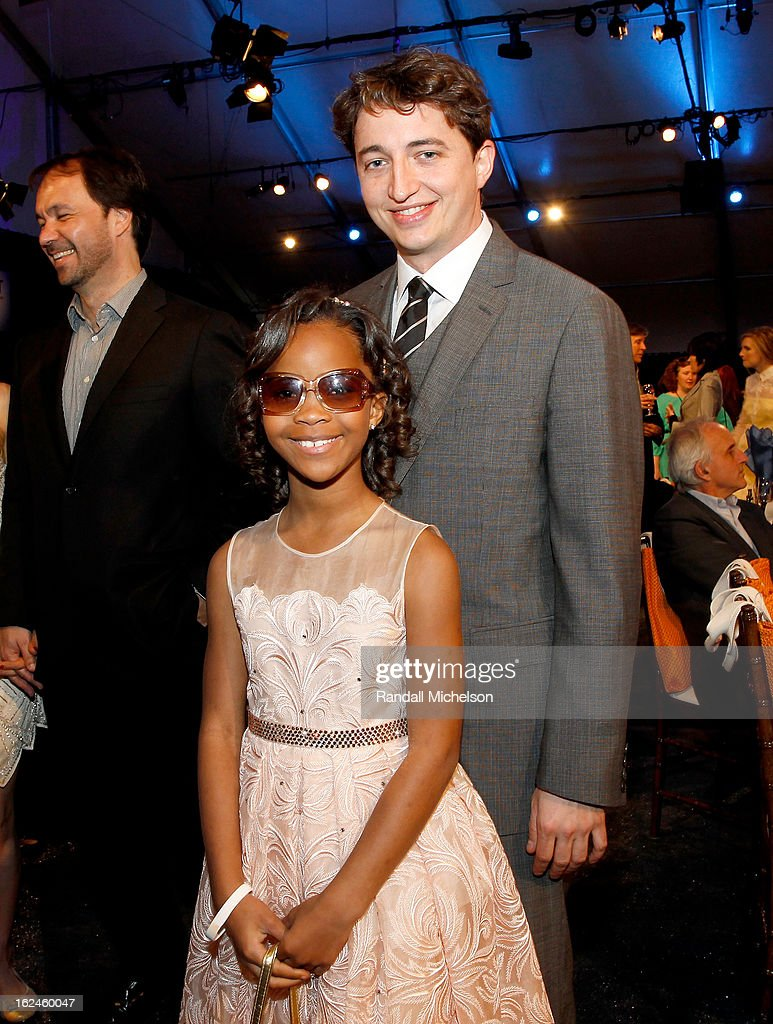 Actress Quvenzhane Wallis and director <a gi-track='captionPersonalityLinkClicked' href=/galleries/search?phrase=Benh+Zeitlin&family=editorial&specificpeople=6711208 ng-click='$event.stopPropagation()'>Benh Zeitlin</a> attend the 2013 Film Independent Spirit Awards at Santa Monica Beach on February 23, 2013 in Santa Monica, California.