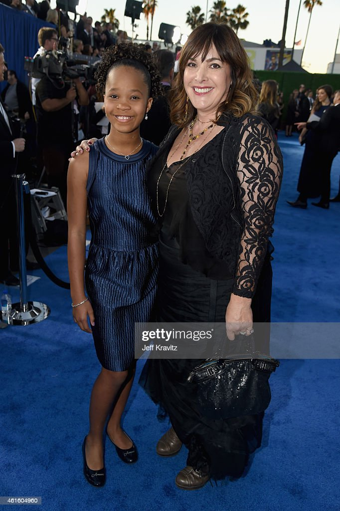 Actress Quvenzhane Wallis (L) and guest attend the 20th annual Critics' Choice Movie Awards at the Hollywood Palladium on January 15, 2015 in Los Angeles, California.
