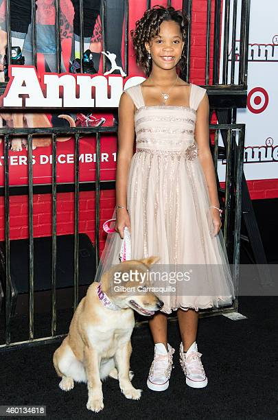 Actress Quvenzhane Wallis and Marti attend the 'Annie' world premiere at Ziegfeld Theater on December 7 2014 in New York City