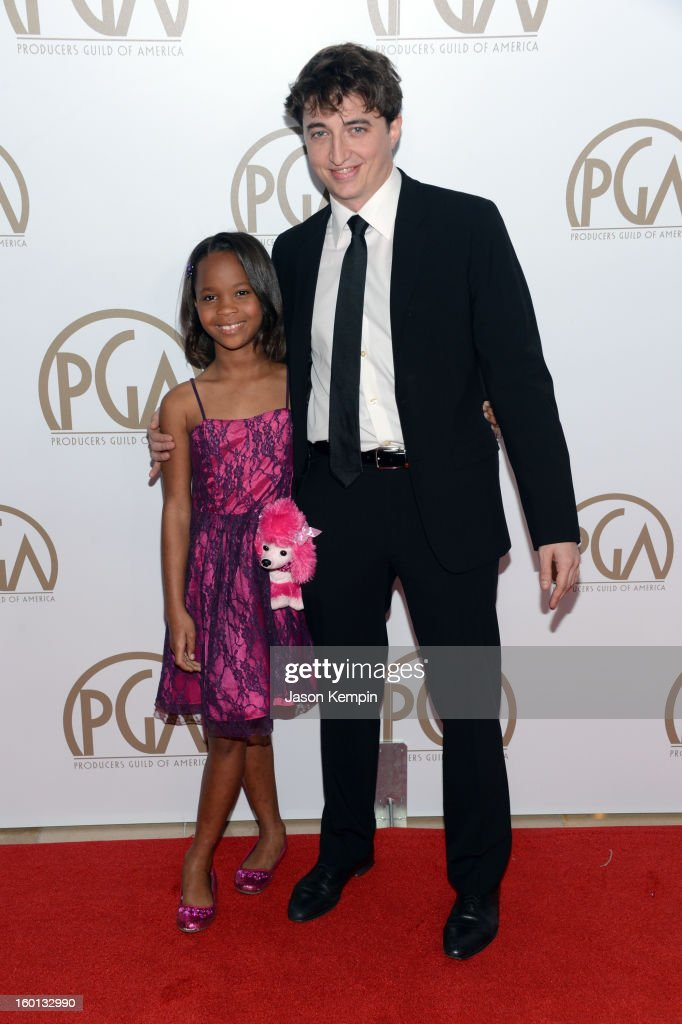 Actress Quvenzhane Wallis (L) and writer/director <a gi-track='captionPersonalityLinkClicked' href=/galleries/search?phrase=Benh+Zeitlin&family=editorial&specificpeople=6711208 ng-click='$event.stopPropagation()'>Benh Zeitlin</a> arrive at the 24th Annual Producers Guild Awards held at The Beverly Hilton Hotel on January 26, 2013 in Beverly Hills, California.
