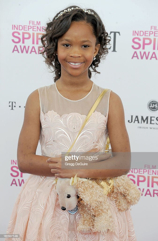 Actress Quvenzhane Wallis arrives at the 2013 Film Independent Spirit Awards at Santa Monica Beach on February 23, 2013 in Santa Monica, California.