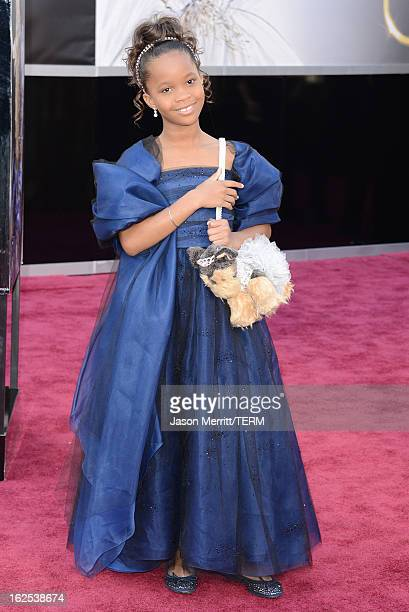 Actress Quvenzhane Wallis arrives at the Oscars at Hollywood Highland Center on February 24 2013 in Hollywood California