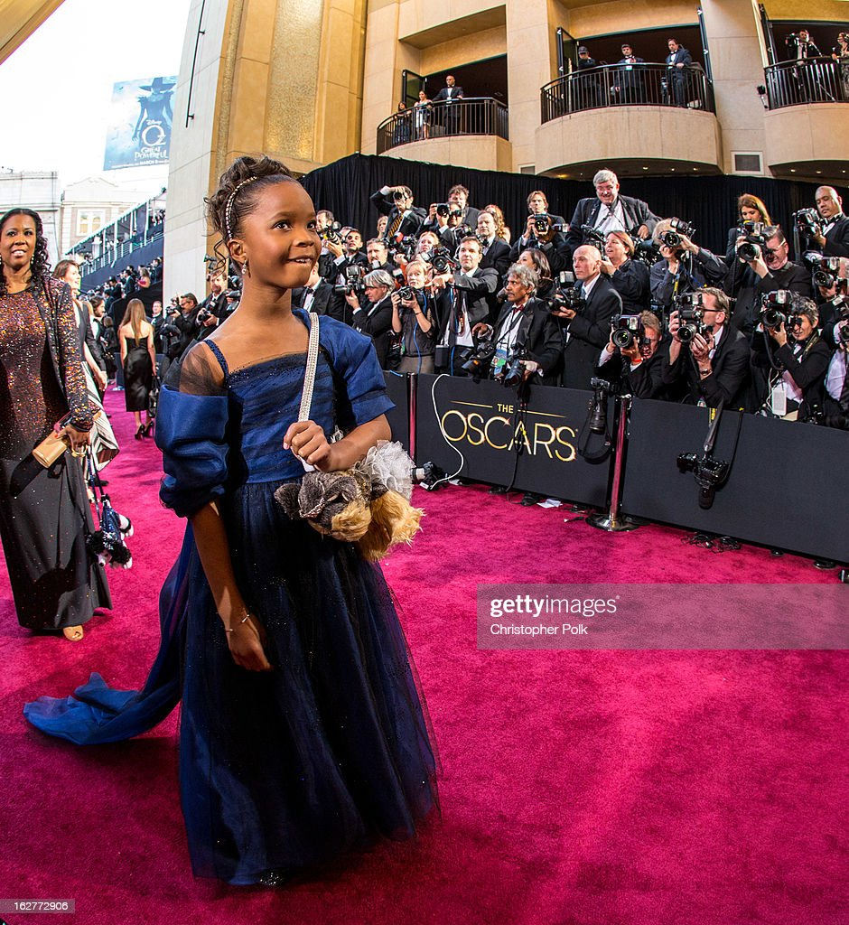 Actress Quvenzhane Wallis arrives at the Oscars held at Hollywood & Highland Center on February 24, 2013 in Hollywood, California.