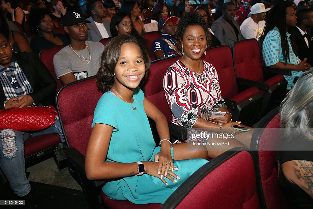 Actress Quvenzhane Wallis (L) attends the 2016 BET Awards at the Microsoft Theater on June 26, 2016 in Los Angeles, California.