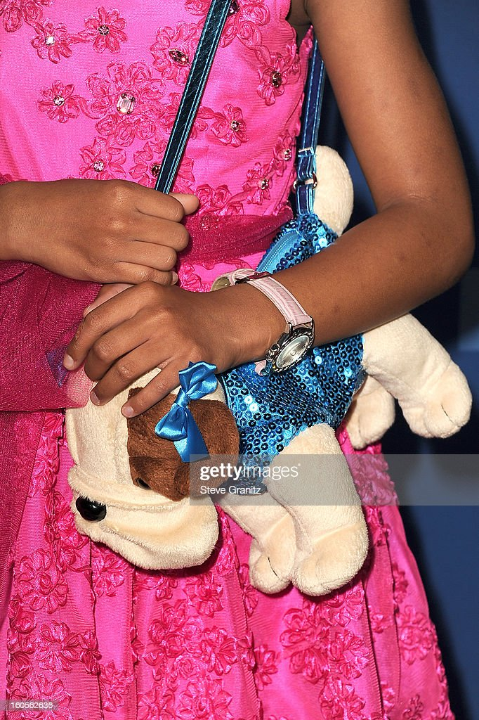 Actress Quvenzhane Wallis (handbag detail) attends the 65th Annual Directors Guild Of America Awards at The Ray Dolby Ballroom at Hollywood & Highland Center on February 2, 2013 in Hollywood, California.