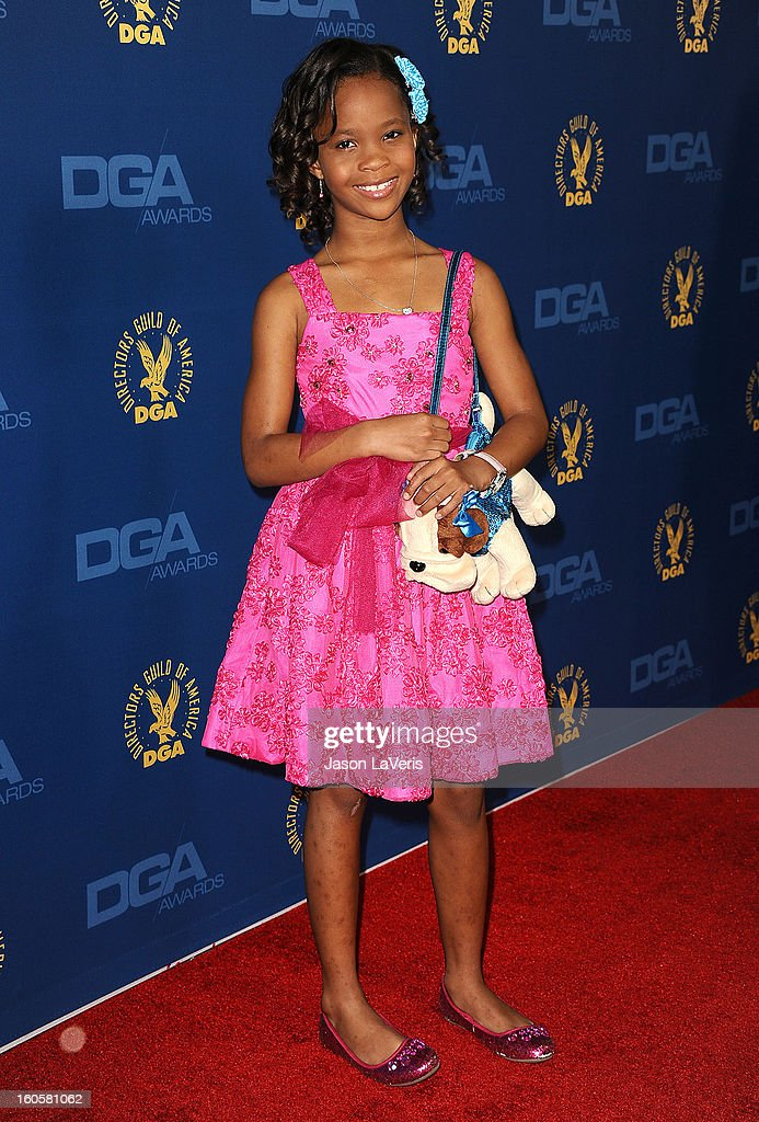 Actress Quvenzhane Wallis attends the 65th annual Directors Guild Of America Awards at The Ray Dolby Ballroom at Hollywood & Highland Center on February 2, 2013 in Hollywood, California.