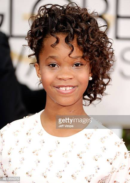 Actress Quvenzhane Wallis attends the 72nd Annual Golden Globe Awards at The Beverly Hilton Hotel on January 11 2015 in Beverly Hills California