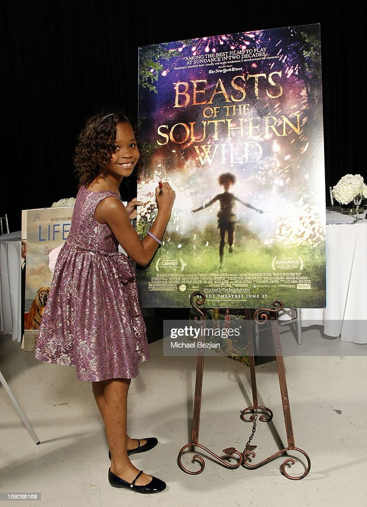 Actress Quvenzhane Wallis attends the poster signing event for charity during the Critics' Choice Movie Awards 2013 at Barkar Hangar on January 10, 2013 in Santa Monica, California.