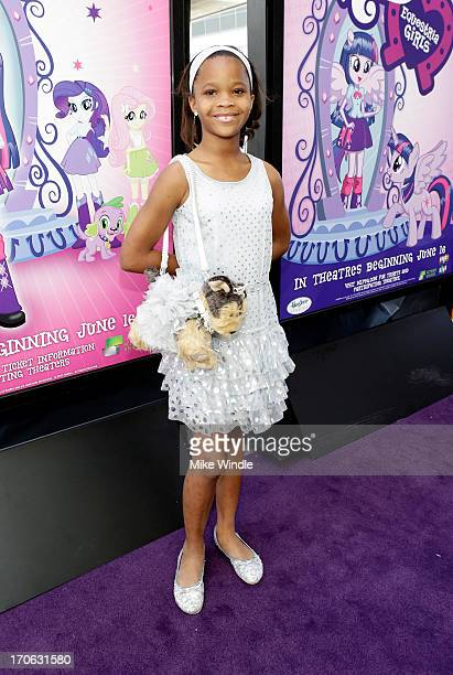 Actress Quvenzhane Wallis attends the 'Purple Carpet' premiere of 'My Little Pony Equestria Girls' presented by Hasbro Studios and LAFF at Regal...
