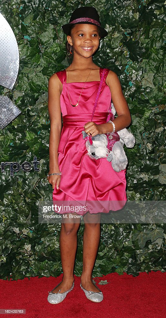 Actress Quvenzhane Wallis attends the QVC Red Carpet Style Event, at the Four Seasons Hotel Los Angeles on February 22, 2013 in Beverly Hills, California.