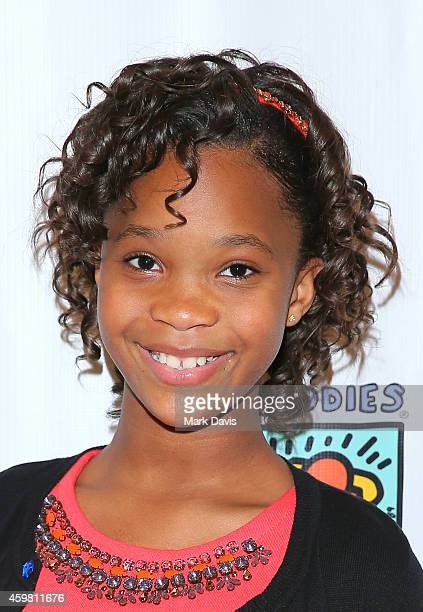 Actress Quvenzhane Wallis poses at the Best Buddies screening of 'Annie' held at Sony Studios on December 1 2014 in Los Angeles California