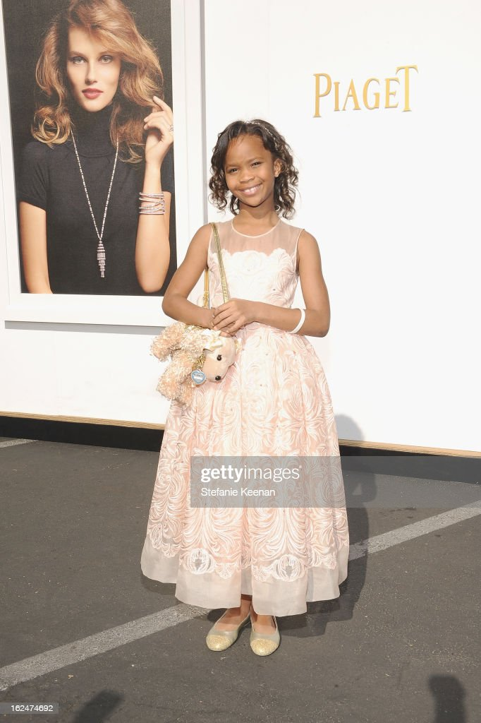 Actress Quvenzhane Wallis poses in the Piaget Lounge during The 2013 Film Independent Spirit Awards on February 23, 2013 in Santa Monica, California.