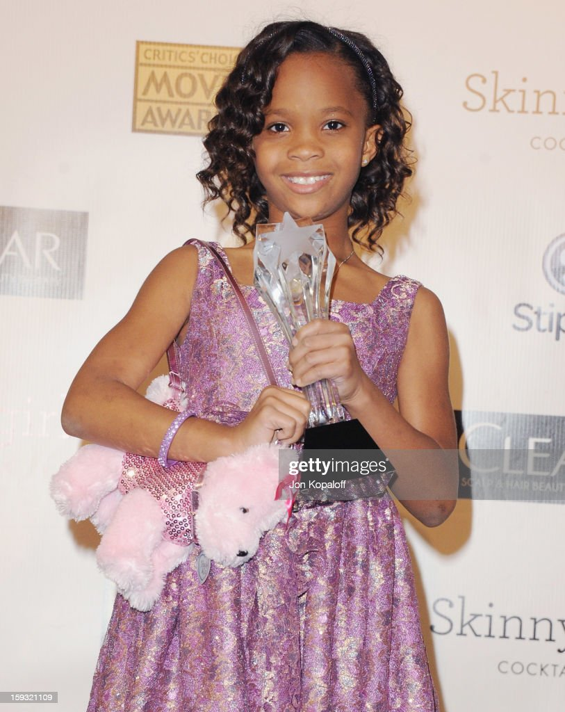 Actress Quvenzhane Wallis poses in the press room at the 18th Annual Critics' Choice Movie Awards at Barker Hangar on January 10, 2013 in Santa Monica, California.
