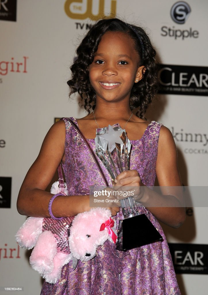 Actress Quvenzhane Wallis poses in the press room during the 18th Annual Critics' Choice Movie Awards at The Barker Hanger on January 10, 2013 in Santa Monica, California.