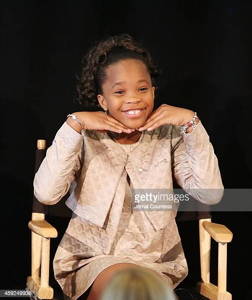 Actress Quvenzhane Wallis speaks at the 'How Celebrity Entrepreneurs Can Advance Social Good' panal during the United Nations 2014 Women's...