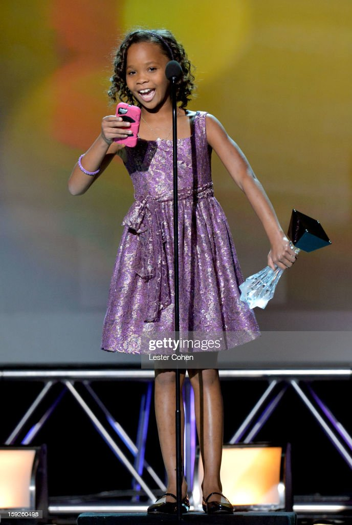Actress Quvenzhane Wallis speaks onstage during the 18th Annual Critics' Choice Movie Awards at The Barker Hanger on January 10, 2013 in Santa Monica, California.