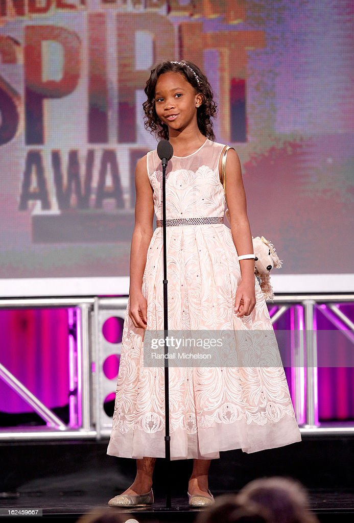 Actress Quvenzhane Wallis speaks onstage during the 2013 Film Independent Spirit Awards at Santa Monica Beach on February 23, 2013 in Santa Monica, California.