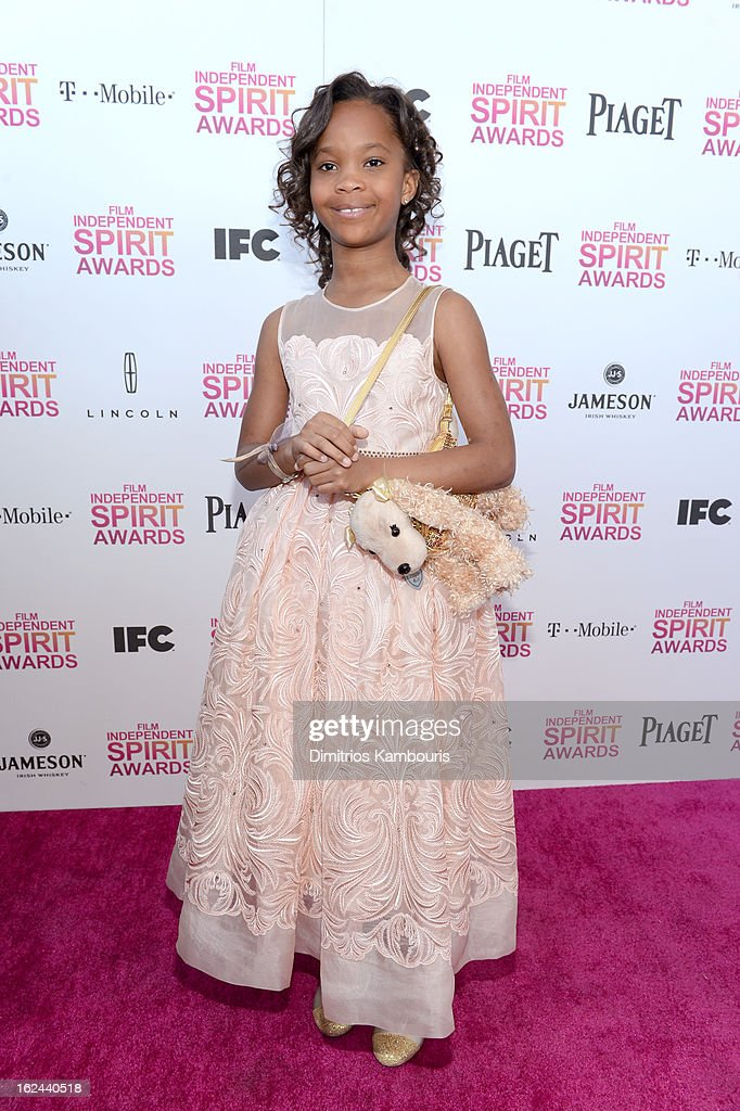 Actress Quvenzhane Wallis with Jameson prior to the 2013 Film Independent Spirit Awards at Santa Monica Beach on February 23, 2013 in Santa Monica, California.