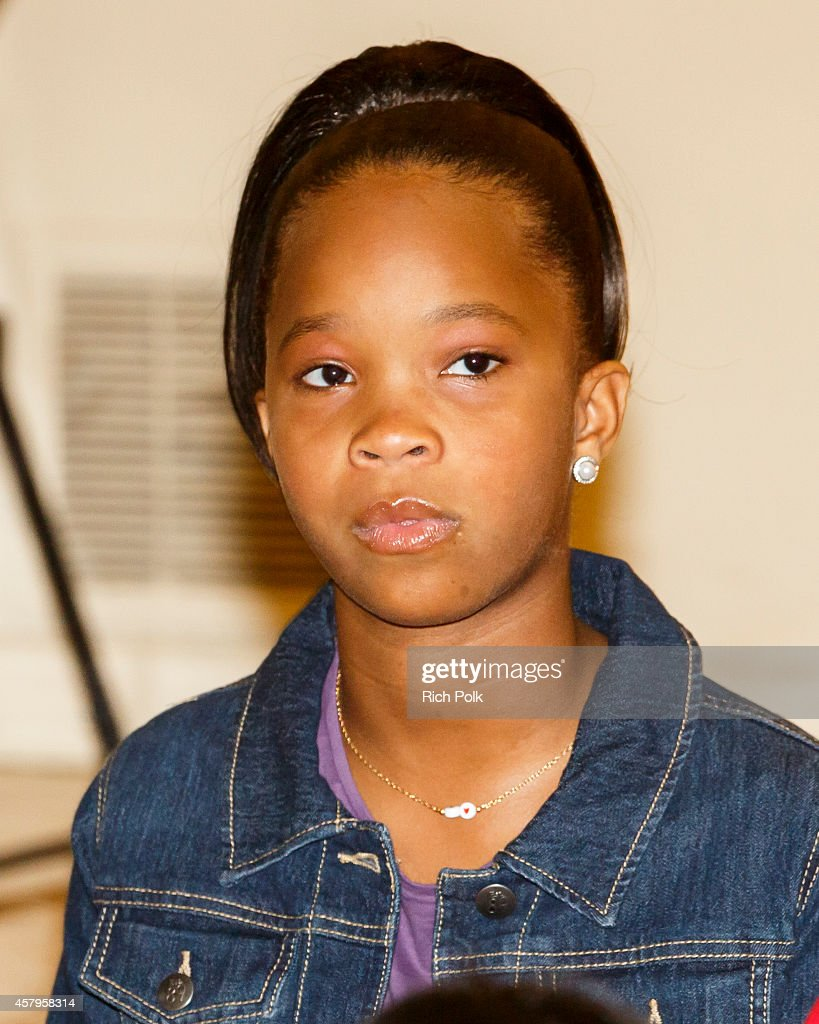 Actress Quvenzhene Wallis attends a Turnaround Arts Los Angeles Event with the Cast Of 'Annie' on October 27 2014 in Inglewood California