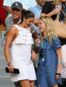 Actress Rachael Taylor and Australian Olympic gold medallist Stephanie Rice attend the women's final match between Serena Williams of the United...