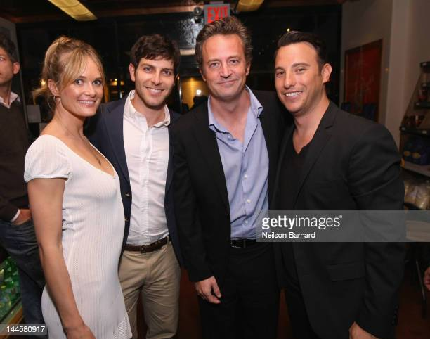 Actress Rachel Blanchard actor David Giuntoli actor Matthew Perry and CAA Agent Sean Grumann attend Creative Artists Agency's Upfront Party at Il...