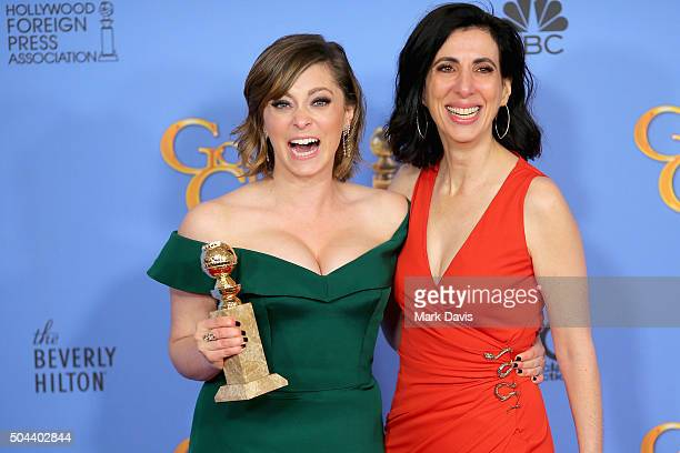 Actress Rachel Bloom winner of Best Performance by an Actress in a Television Series Musical or Comedy and screenwriter Aline Brosh McKenna pose in...