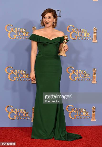 Actress Rachel Bloom winner of Best Performance in a Television Series – Musical or Comedy for 'Crazy ExGirlfriend' poses in the press room during...