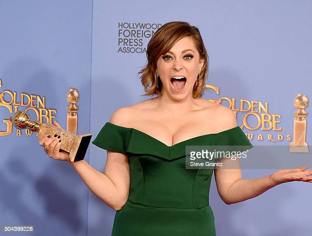 Actress Rachel Bloom winner of the award for Best Performance by an Actress in a Television Series Musical or Comedy for 'Crazy ExGirlfriend' poses...