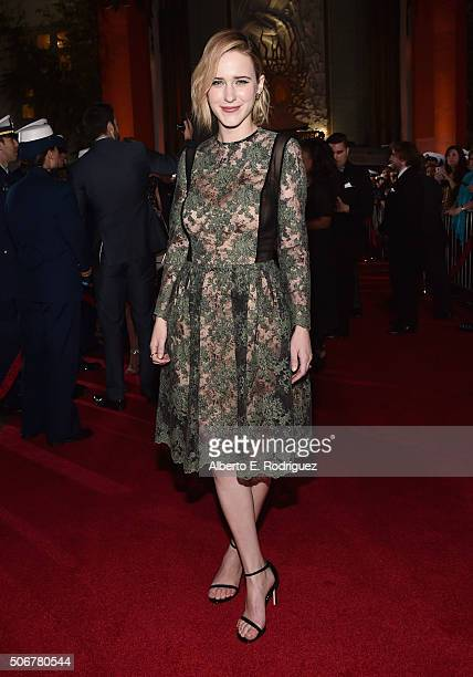 "Actress Rachel Brosnahan and the cast of Disney's ""The Finest Hours"" were greeted by the US Coast Guard Band Honor Guard and throngs of fans at the..."