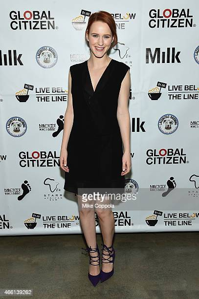 Actress Rachel Brosnahan attends The Global Poverty Project hosted 4th annual Live Below The Line launch party at Milk Studios on March 13 2015 in...