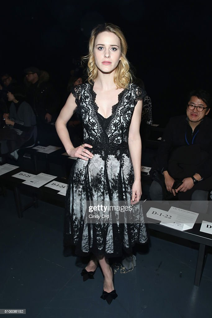 Actress <a gi-track='captionPersonalityLinkClicked' href=/galleries/search?phrase=Rachel+Brosnahan&family=editorial&specificpeople=7265566 ng-click='$event.stopPropagation()'>Rachel Brosnahan</a> attends the LIE SANGBONG Fall-Winter 2016 Collection Show at Pier 59 on February 13, 2016 in New York, New York.