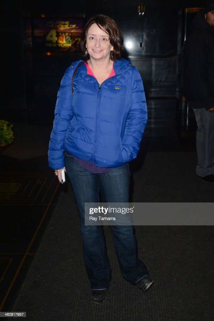 Actress <a gi-track='captionPersonalityLinkClicked' href=/galleries/search?phrase=Rachel+Dratch&family=editorial&specificpeople=209387 ng-click='$event.stopPropagation()'>Rachel Dratch</a> enters the 'New York Live' taping at the NBC Rockefeller Center Studios on January 15, 2014 in New York City.