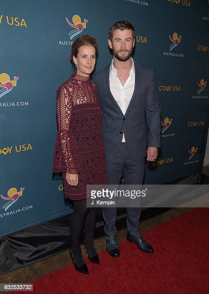 Actress Rachel Griffiths and actor Chris Hemsworth attend A Virtual Tour Of Australia at Hudson Mercantile on January 23 2017 in New York City