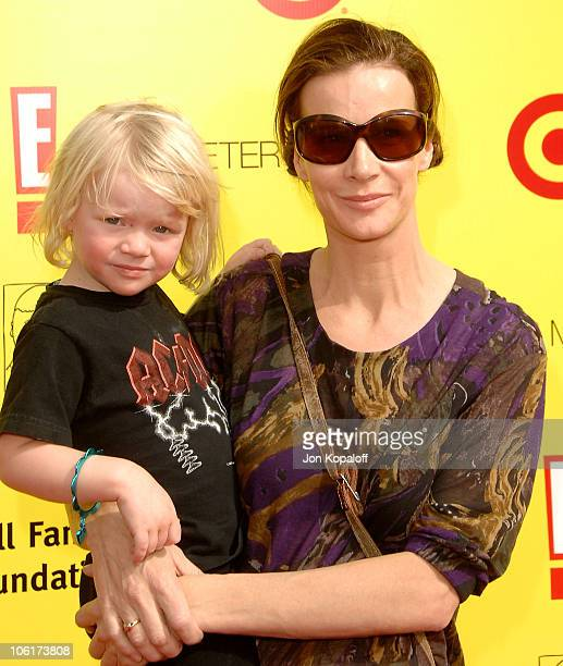 Actress Rachel Griffiths and son Banjo Patrick Taylor arrive at the PS Arts 10th Annual Express Yourself Gala at Barker Hanger on November 4 2007 in...